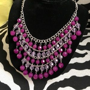 Jewelry - Statement piece! Silver and purple necklace